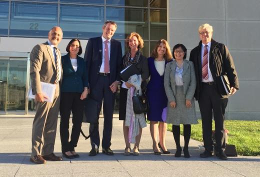 November 4, 2015 FDA pre-IND meeting. Group photograph in front of Building 22 on the FDA White Oak Campus, Silver Spring, Maryland (from left to right) Drs. Roham Zamanian (Stanford), Michal Roof (Stanford), Juergen Paal (Proteo), Marianne Mann (Consultant), Marlene Rabinovitch (Stanford), Hanna Ng (Consultant, SRI) and Oliver Wiedow (Proteo)